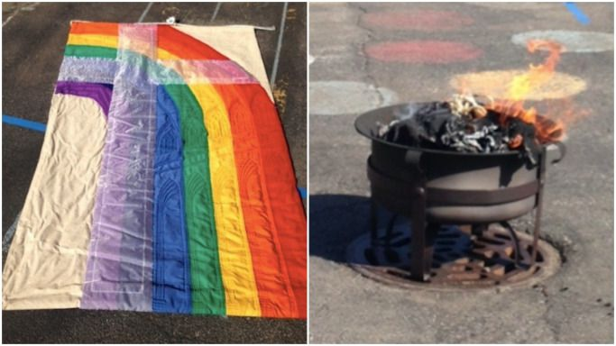 Rev. Paul Kalchik burned this LGBTQ-friendly banner on church grounds last week, against the order of Cardinal Blase Cupich.   Provided photos