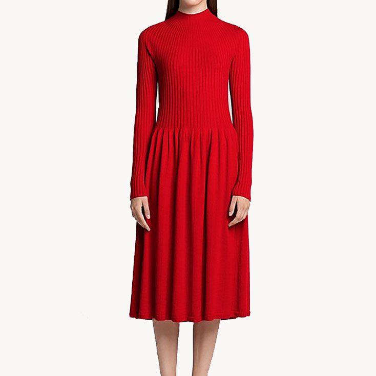 U Merino Long-Sleeve Ribbed Dress