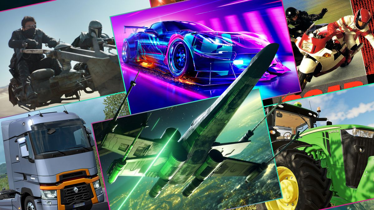 Graphic featuring a grid of six rectangles featuring screen images from different video games including Start Wars: Squadrons