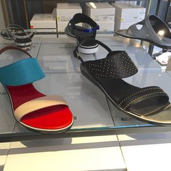 Sandals in color ($148.50) and in black ($178.50)