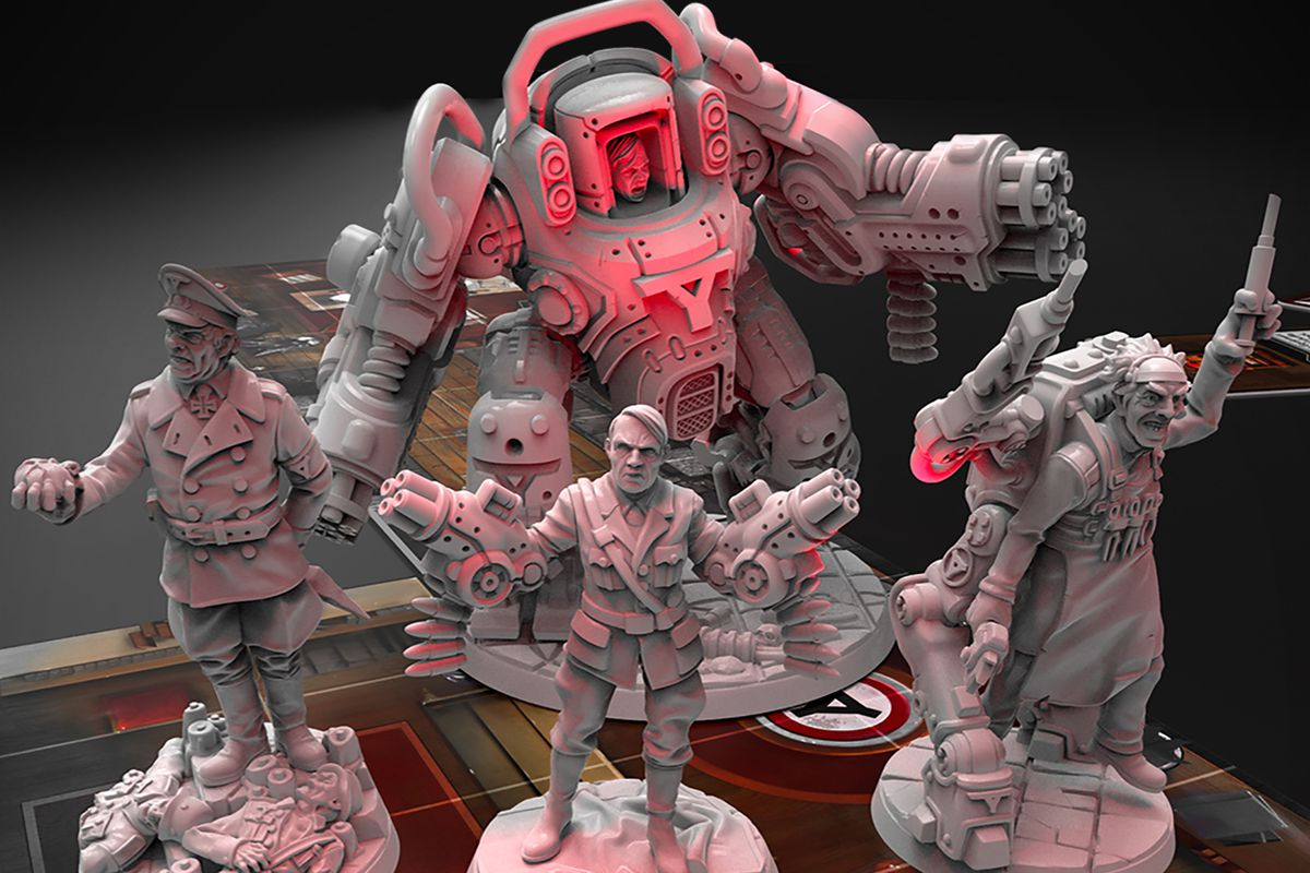 Mecha-Hitler and his pals, Adolf, Grimm, and Bevli rendered as miniatures by Archon Studio.