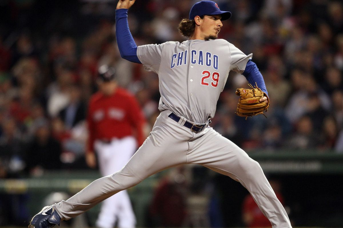 Jeff Samardzija of the Chicago Cubs delivers a pitch in the eighth inning against the Boston Red Sox on May 20, 2011 at Fenway Park in Boston, Massachusetts on May 20, 2011 at Fenway Park in Boston, Massachusetts. (Photo by Elsa/Getty Images)