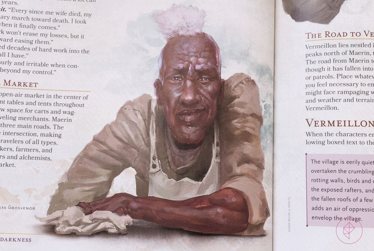 A Black NPC character in Candlekeep Mysteries. His face is wrinkled and hold a wry half smile.