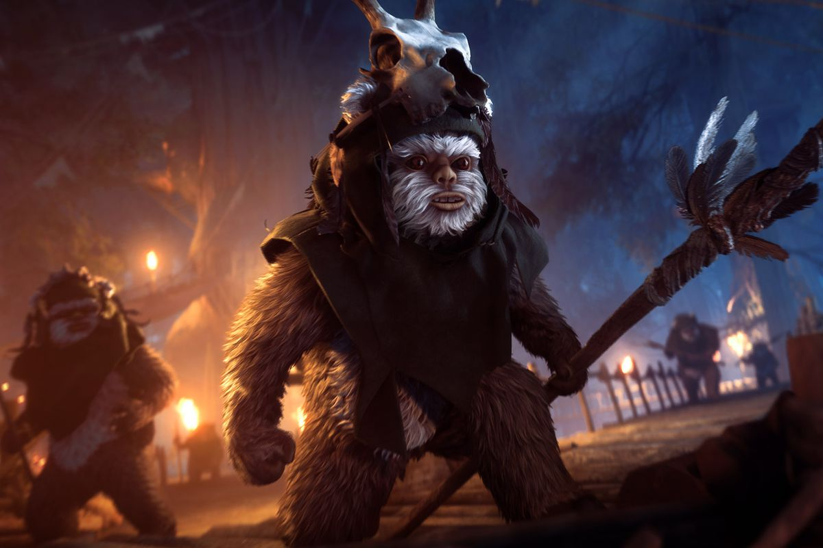 Blast Ewoks in the Star Wars Battlefront II Night on Endor Update
