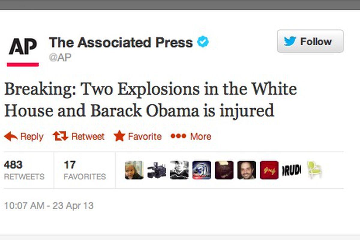 AP Twitter account hacked, makes false claim of explosions