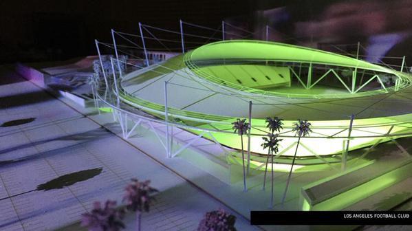 LAFC stadium renderings Meis night