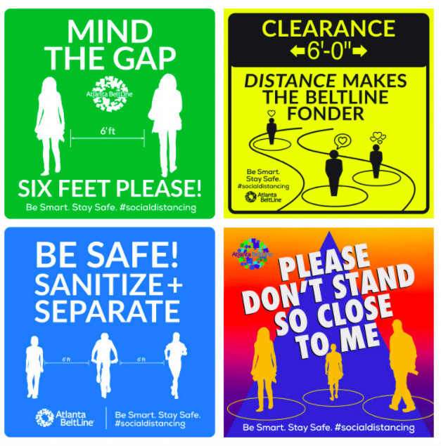 An image with four original signs related to the Beltline.
