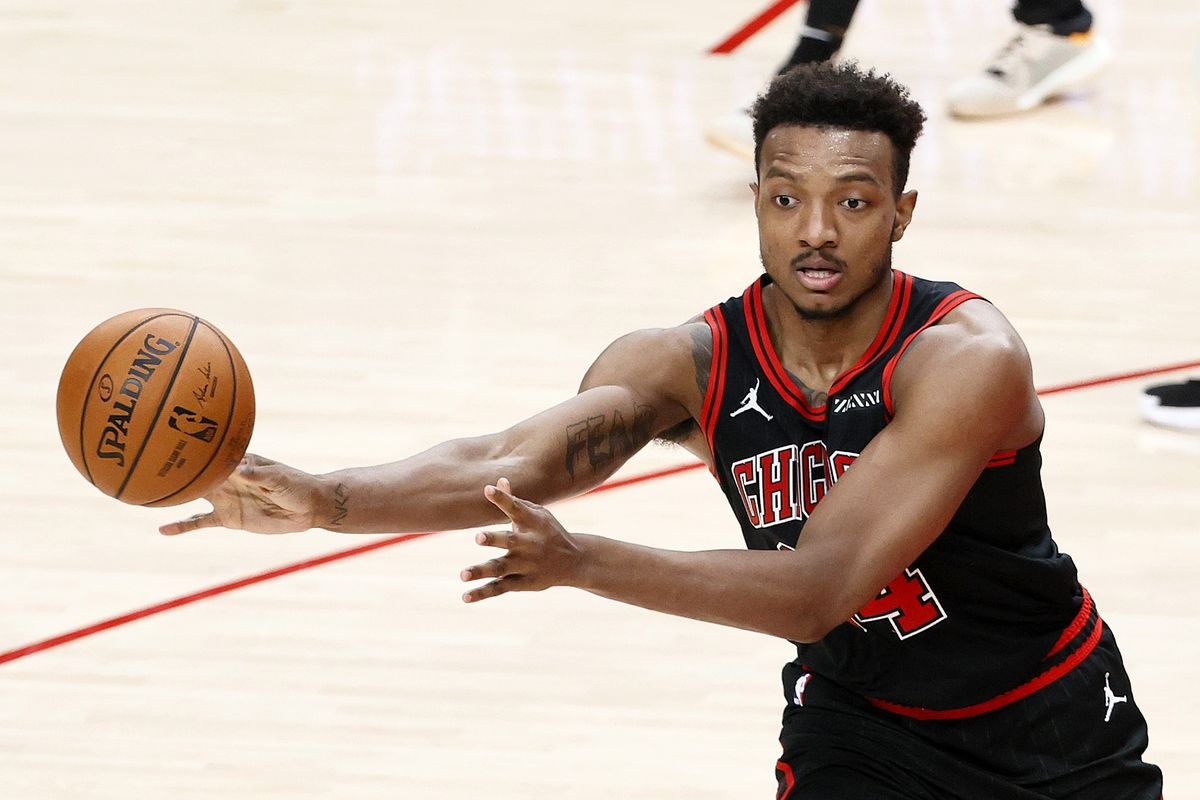 Wendell Carter Jr. of the Chicago Bulls passes against the Portland Trail Blazers in the third quarter at Moda Center on January 05, 2021 in Portland, Oregon.