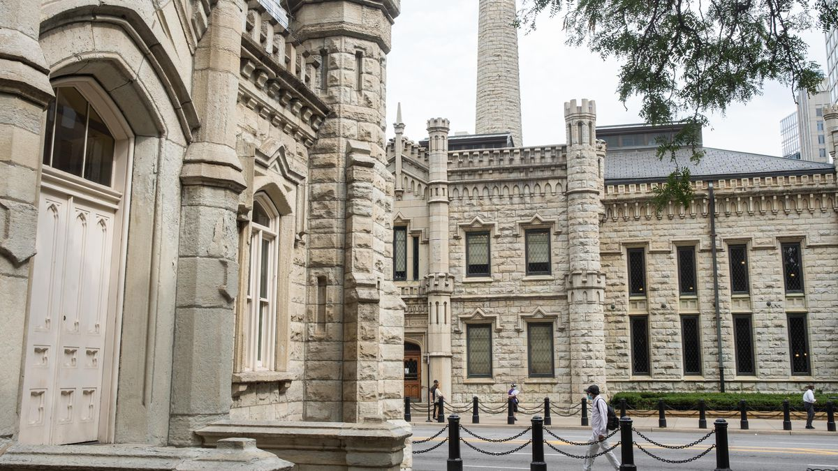 The Water Tower, located at 806 N. Michigan Ave., and the Pumping Station in the Gold Coast neighborhood are seen in this photo, Tuesday afternoon, Sept. 14, 2021. The Water Tower and the Pumping Station had survived the Great Chicago Fire in 1871.