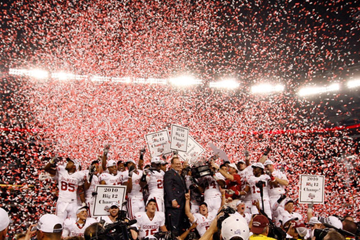Its official! We're picking the Sooners to repeat as Big 12 champs! (Photo by Tom Pennington/Getty Images)