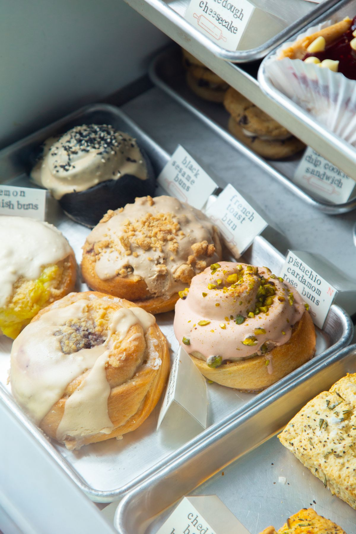 a variety of sweet rolls at crust vegan bakeyr