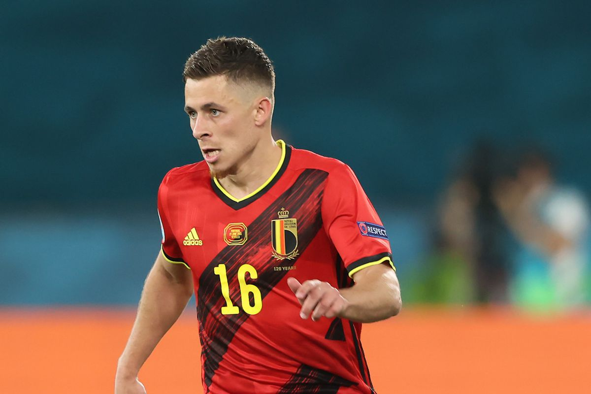 Thorgan Hazard of Belgium runs with the ball during the UEFA Euro 2020 Championship Round of 16 match between Belgium and Portugal at Estadio La Cartuja on June 27, 2021 in Seville, Spain.