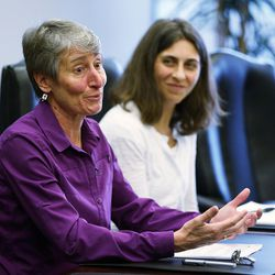 U.S. Secretary of the Interior Sally Jewell meets with the Deseret Media Companies Editorial Board in Salt Lake City, Wednesday, Aug. 5, 2015. Behind her is Sarah Greenberger, senior adviser, U.S. Department of the Interior.