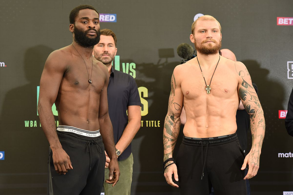 Joshua Buatsi (L) on August 13, 2021 in Brentwood, England with Ricards Bolotniks before the WBA International Light Heavyweight title fight.