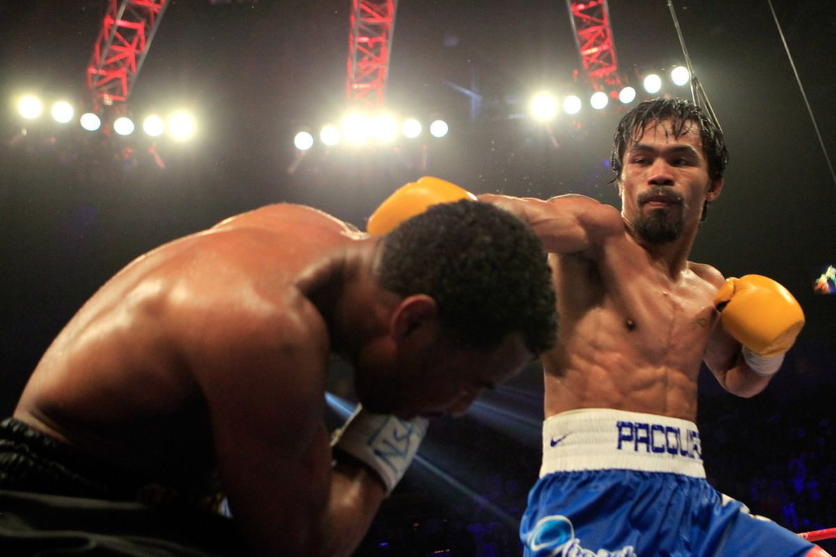 Will Manny Pacquiao seriously decline before facing Floyd Mayweather Jr? (Photo by Chris Trotman/Getty Images)