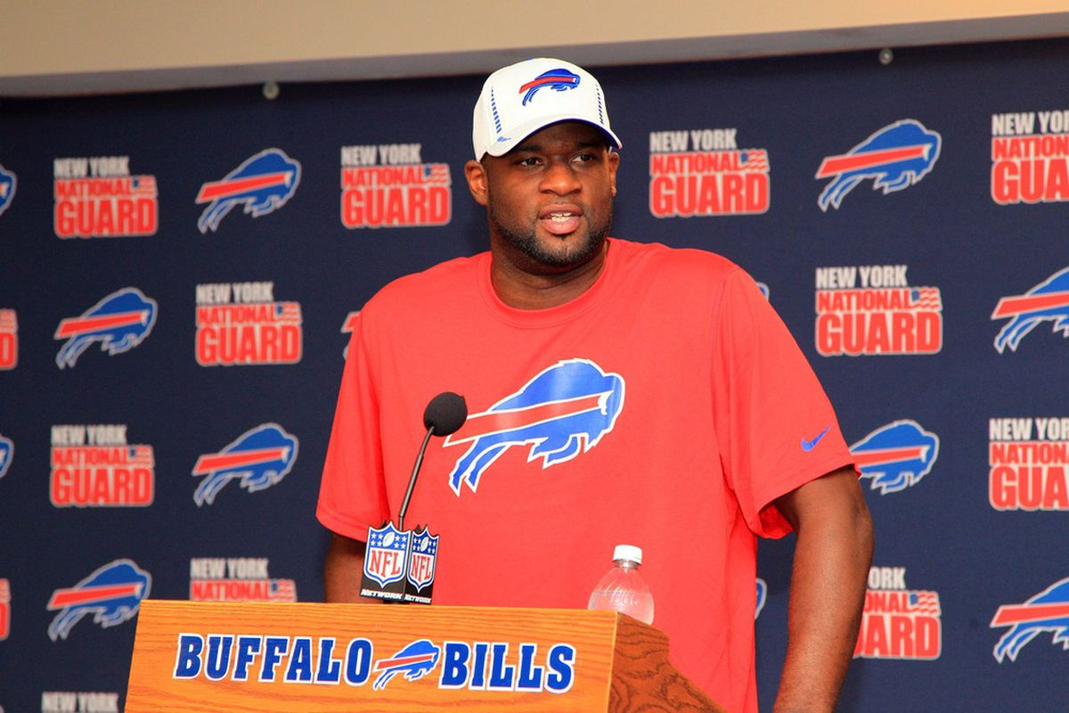 May 15, 2012; Orchard Park, NY, USA;  Buffalo Bills quarterback Vince Young addresses the media during a press conference at Ralph Wilson Stadium. Mandatory Credit: Kevin Hoffman-US PRESSWIRE