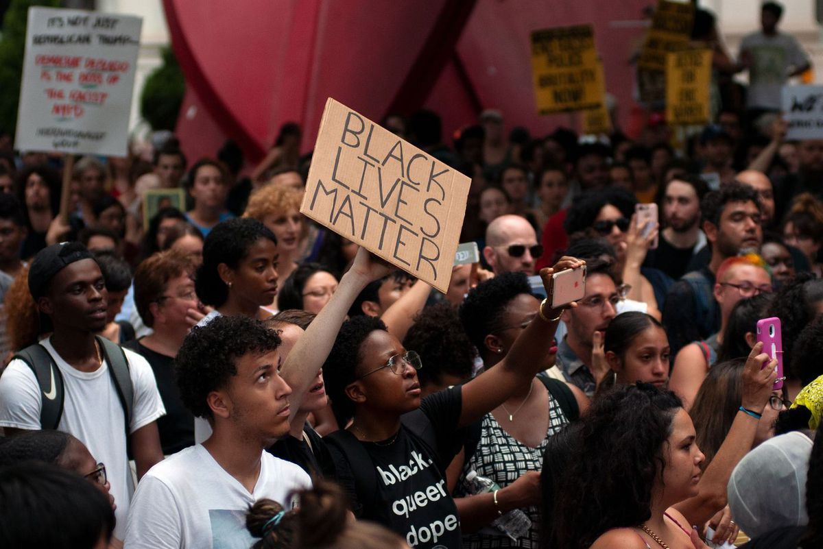 An anti-police brutality march from Foley Square to NYPD headquarters in Lower Manhattan on July 17, 2019, the five-year anniversary of the police-killing of Eric Garner.