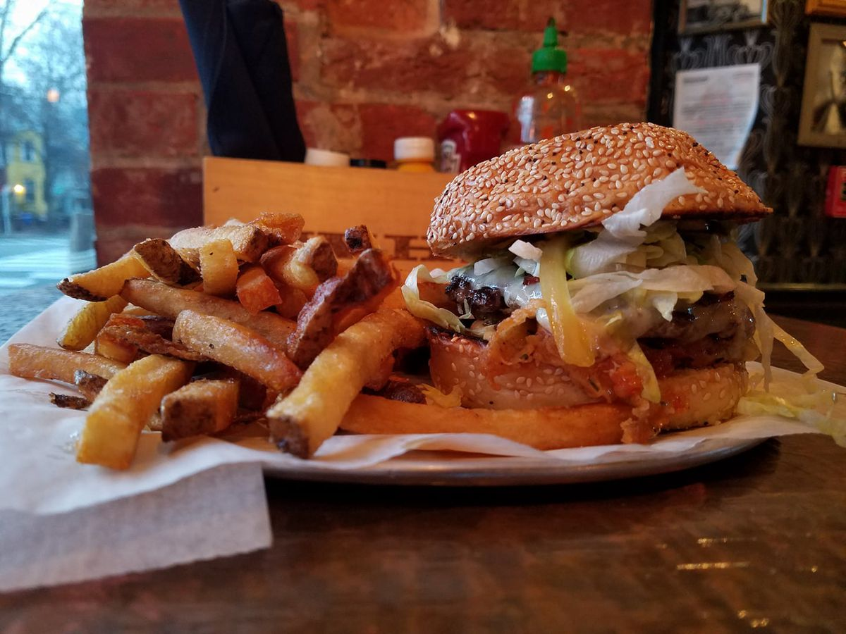 A burger at Commodore