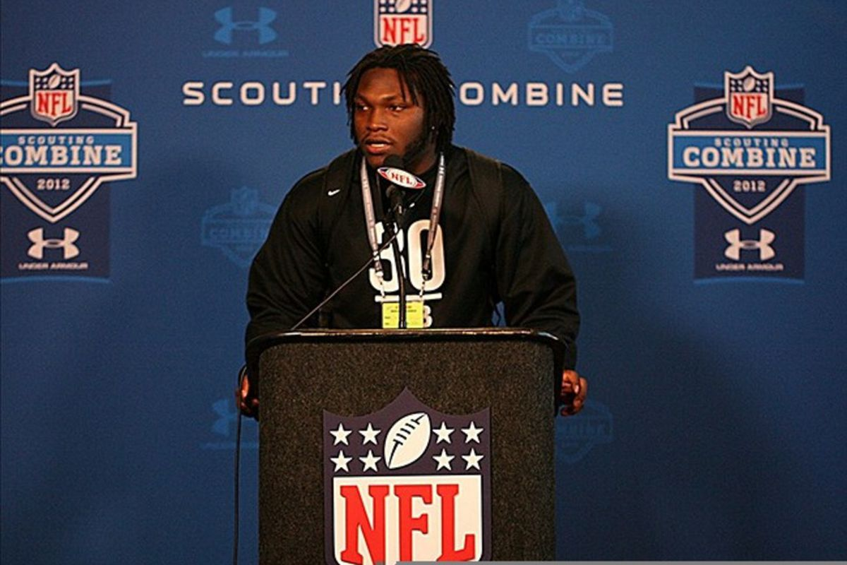 Feb 25, 2012; Indianapolis, IN, USA; Alabama Crimson Tide linebacker Courtney Upshaw who is projected to be a top ten draft pick speaks at a press conference during the NFL Combine at Lucas Oil Stadium. Mandatory Credit: Brian Spurlock-US PRESSWIRE