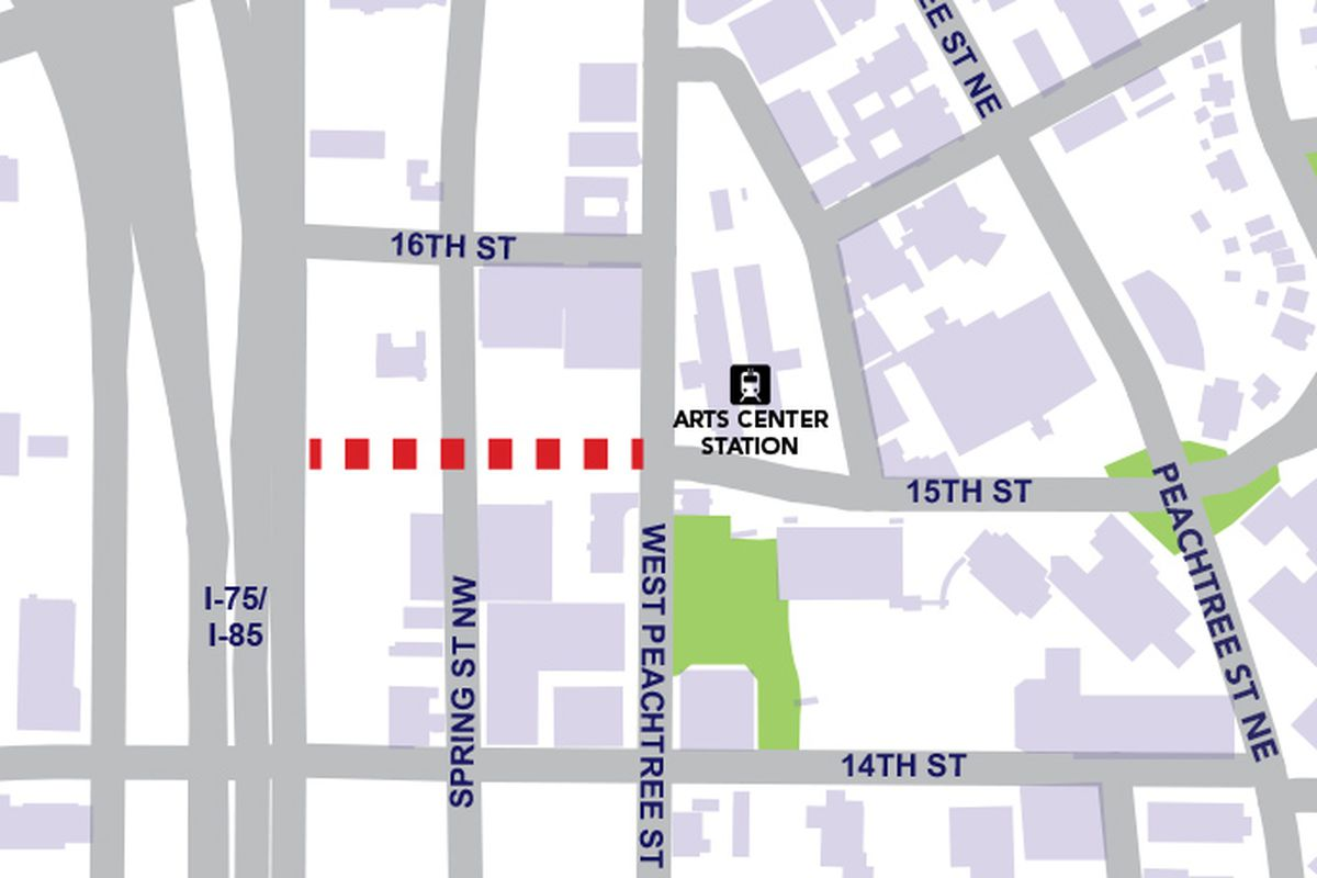 A graphic illustrating where a new Midtown road could be created.