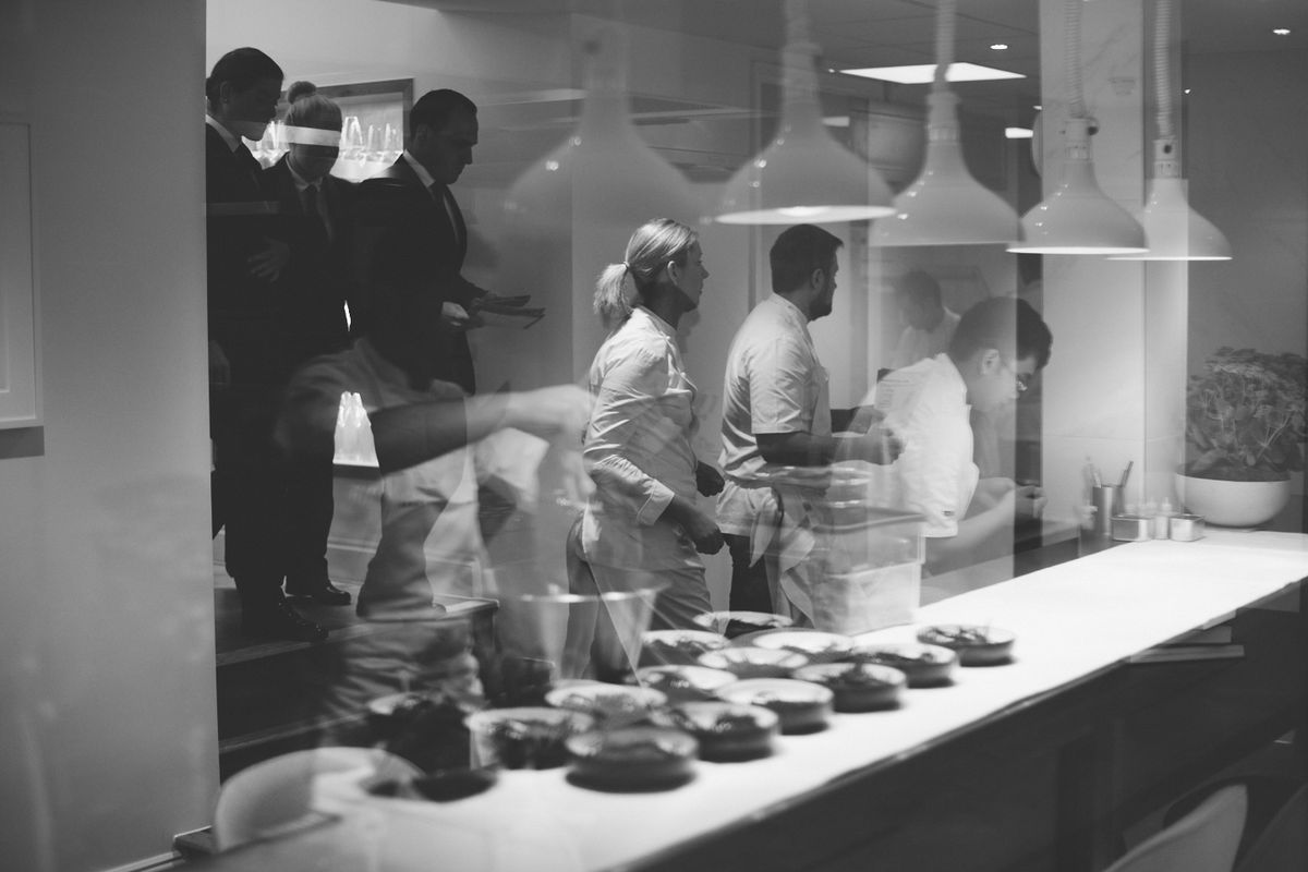 Chefs, waiters, and the pass at two Michelin star restaurant Core by Clare Smyth in Notting Hill, London