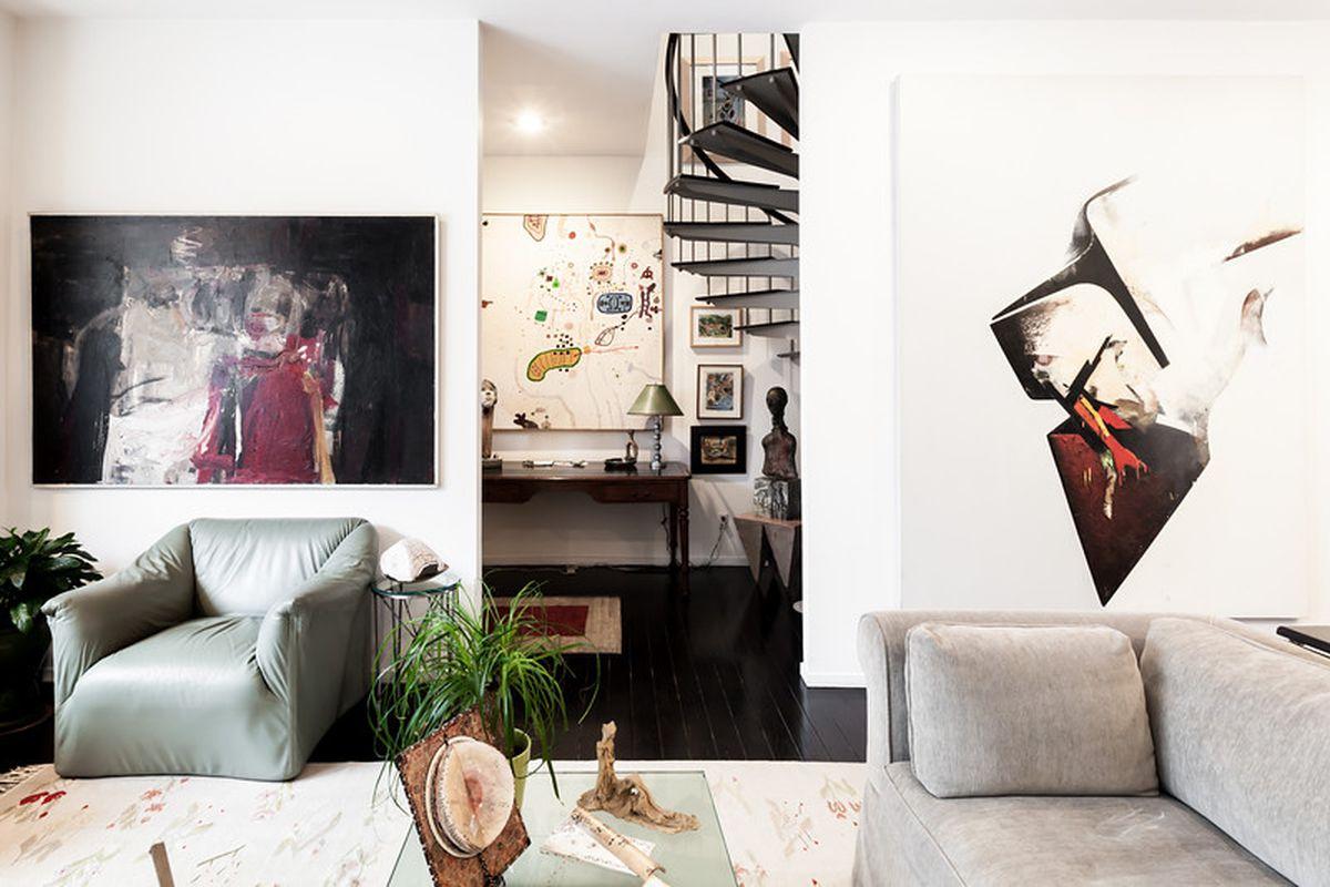 The art-filled interior of Dan and Clare Calevero