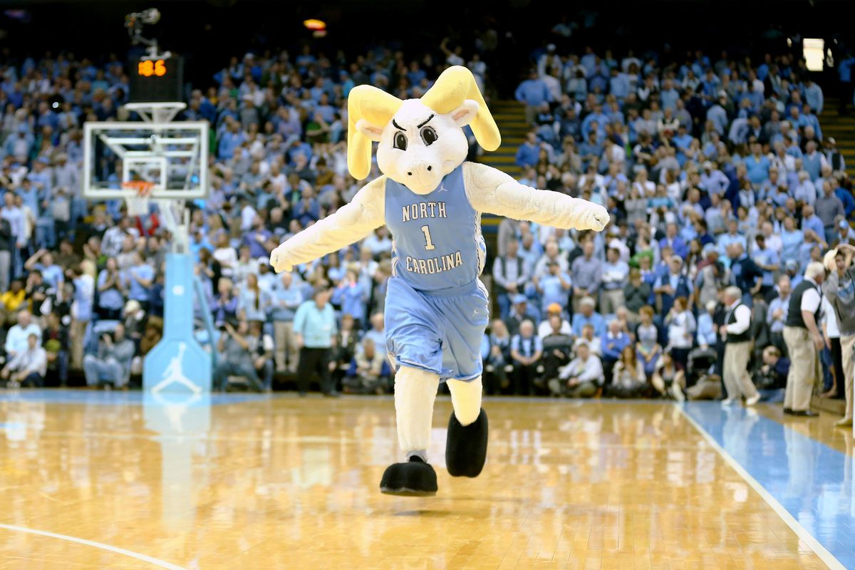 UNC mascot on the basketball court