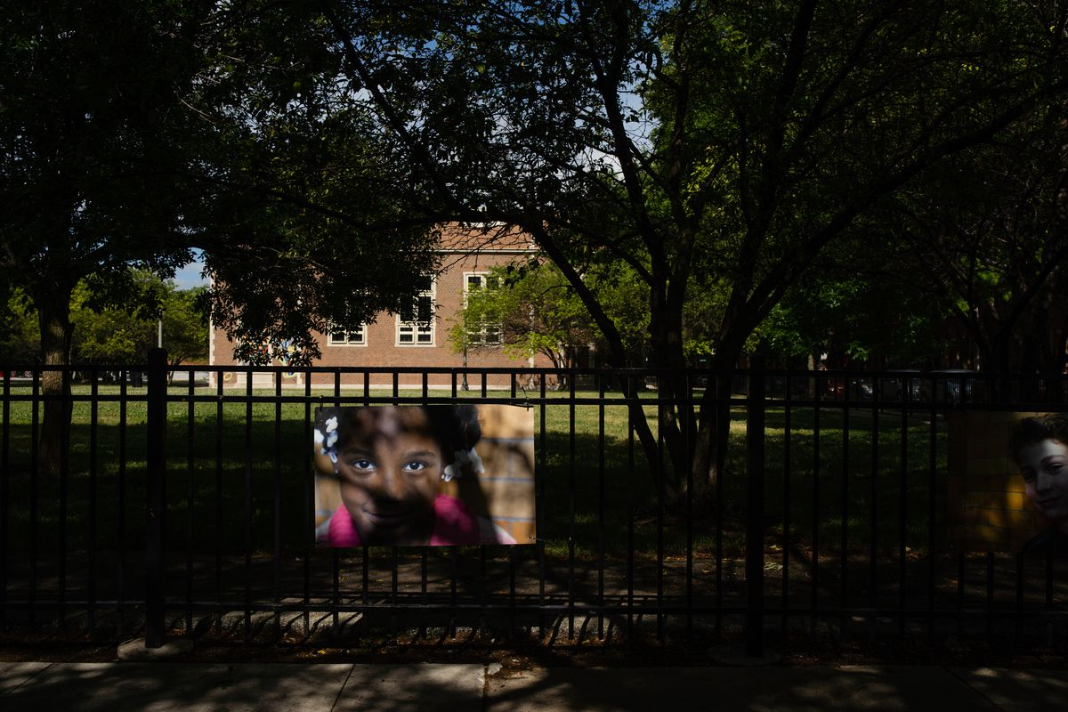 A picture hangs on the fence of the Franklin Fine Arts Center in Old Town on June 23, 2020.