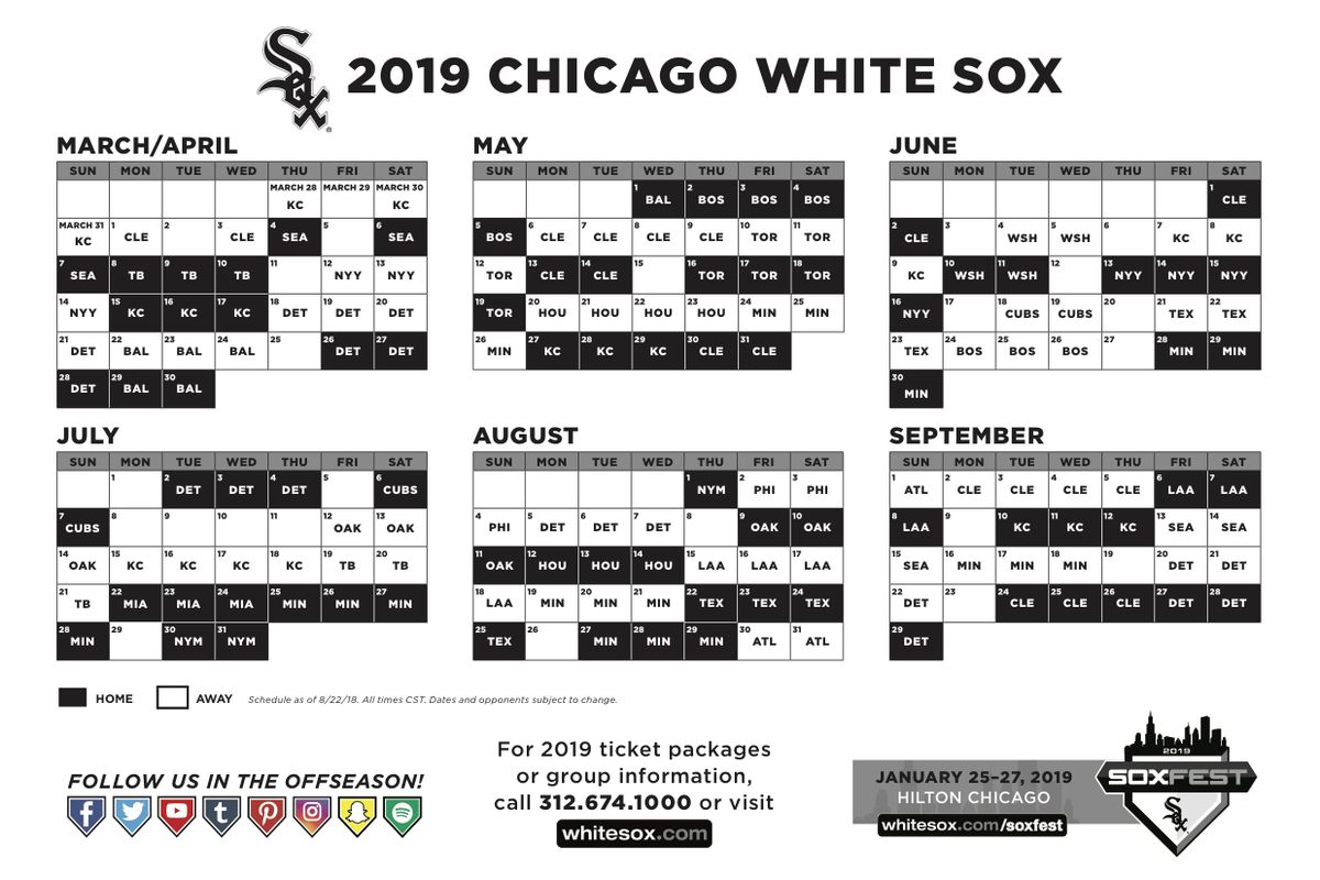 White Sox Release 2019 Schedule With A Home Opener Vs Seattle