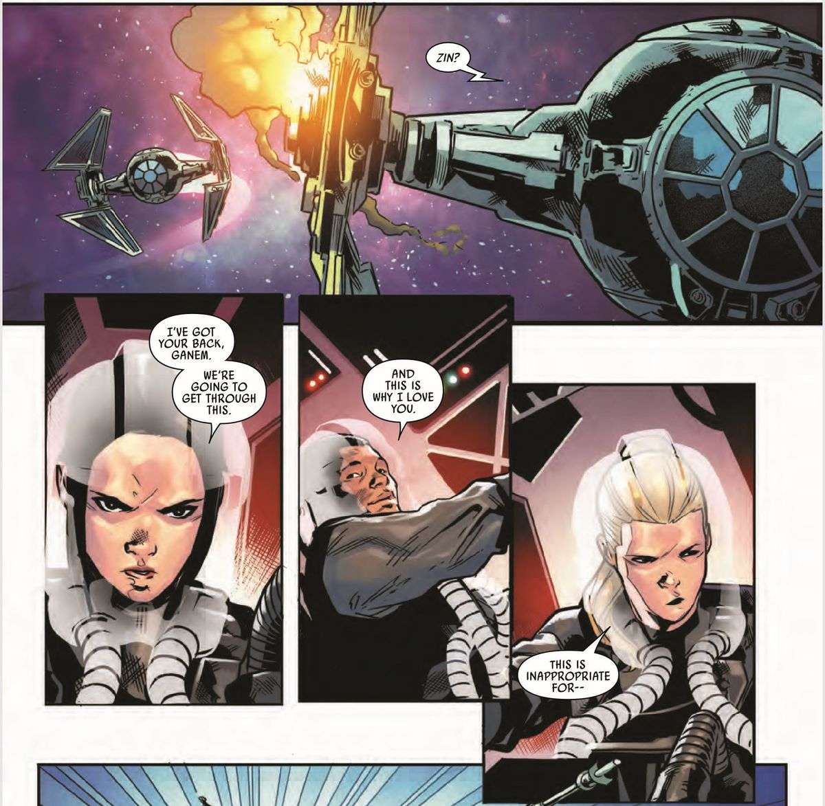 """Three pilots form Shadow Sqaudron bicker like an old married couple in a panel from Marvel's TIE Fighter #4. """"I've got your back, Ganem,"""" says Zin, while Jeela does not approve."""