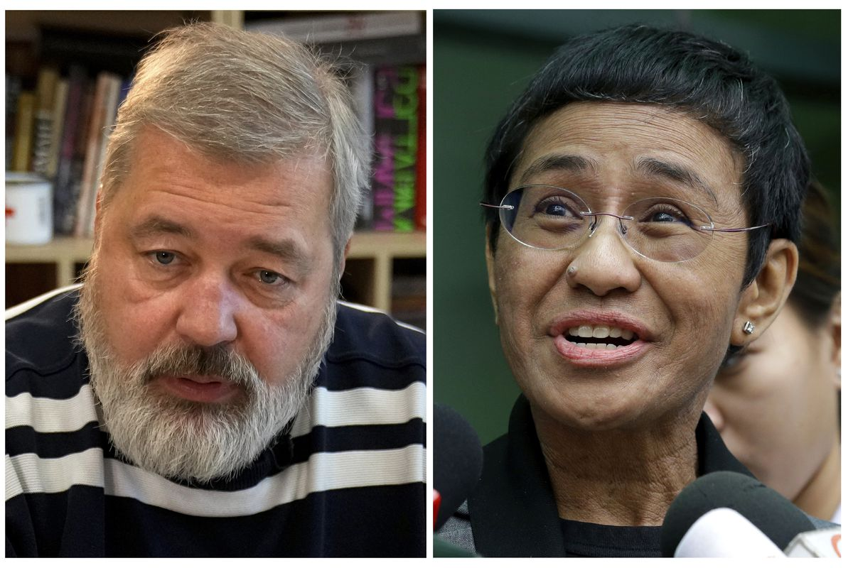 A combo of file images of Novaya Gazeta editor Dmitry Muratov, left, and of Rappler CEO and Executive Editor Maria Ressa. On Friday, Oct. 8, 2021 the Nobel Peace Prize was awarded to journalists Maria Ressa of the Philippines and Dmitry Muratov of Russia for their fight for freedom of expression.