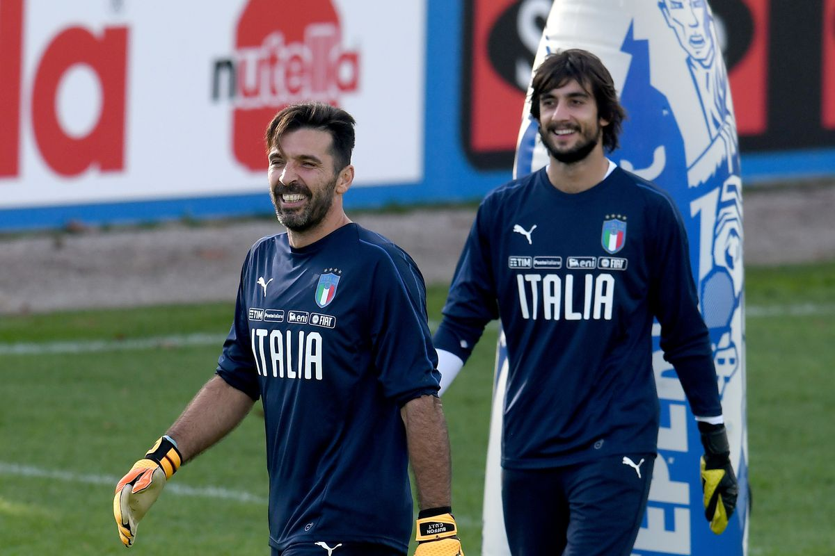 16a76c9f6 Gianluigi Buffon and Mattia Perin during an Italy training session Photo by  Claudio Villa Getty Images