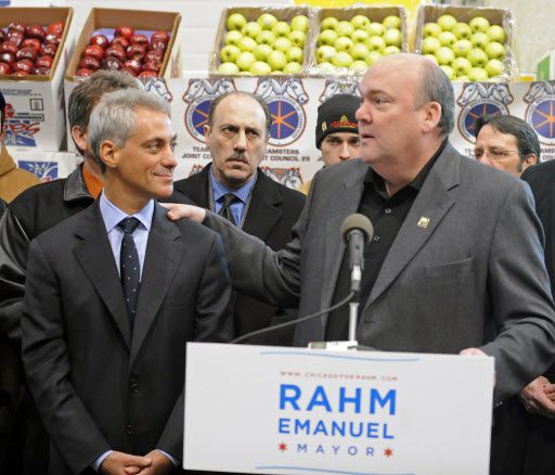 In his first run for mayor, Rahm Emanuel gets endorsed by John T. Coli Sr., then-president of the Teamsters Joint Council 25, on Jan. 25, 2011. I Sun-Times files