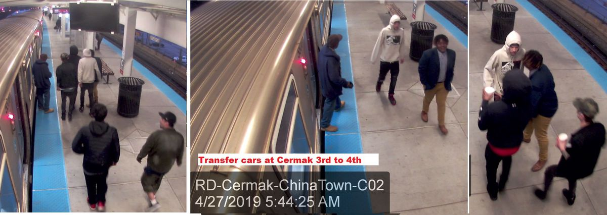 Photos of six men who allegedly robbed a person last month on a Red Line train.