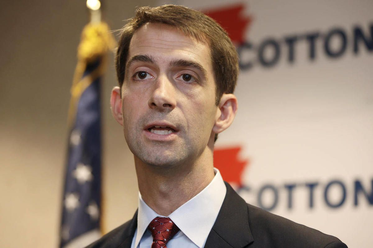 U.S. Rep. Tom Cotton, R-Ark., a candidate for U.S. senate, speaks at a North Little Rock, Ark., news conference as he endorses U.S. Rep. Tom Cotton, R-Ark.,Thursday, Aug. 21, 2014.