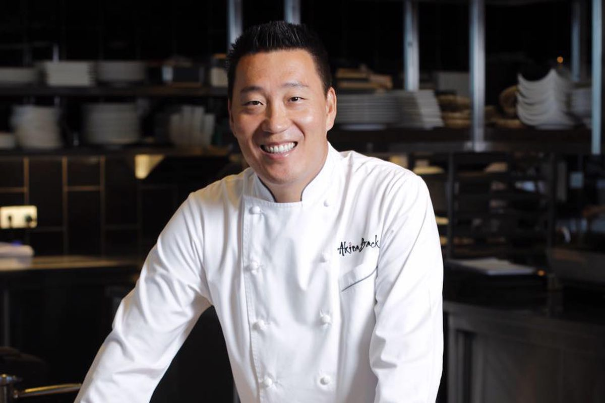 Chef Akira Back wearing a white chef's coat