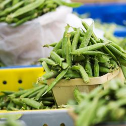 Peas in baskets on the opening day of the farmers market Saturday, June 13, 2015, in Salt Lake City at Pioneer Park.