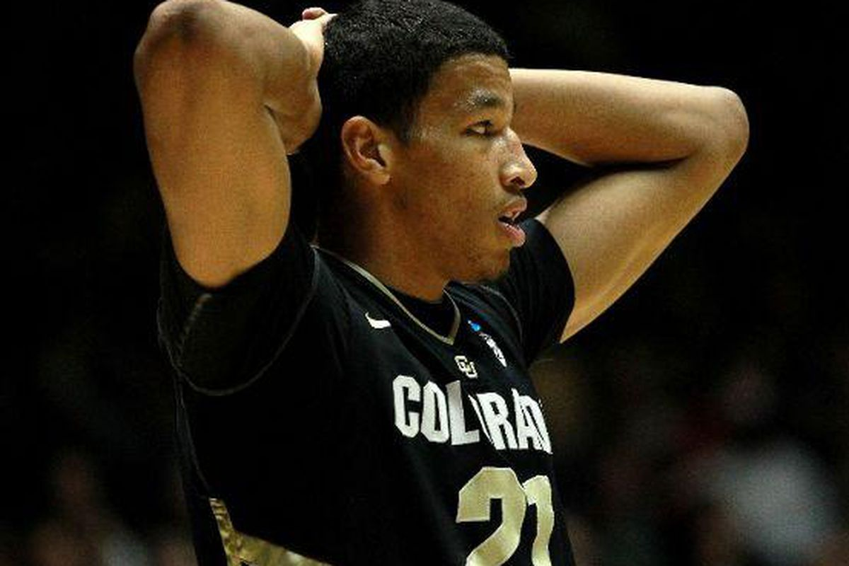 Colorado's Andre Roberson was in disbelief at what the Buffs saw from Baylor's Brady Heslip, who hit 9 of 12 3 pointers to lead the Bears to an 80-63 win that eliminated the Buffs. <em>(Getty Images photo)</em>