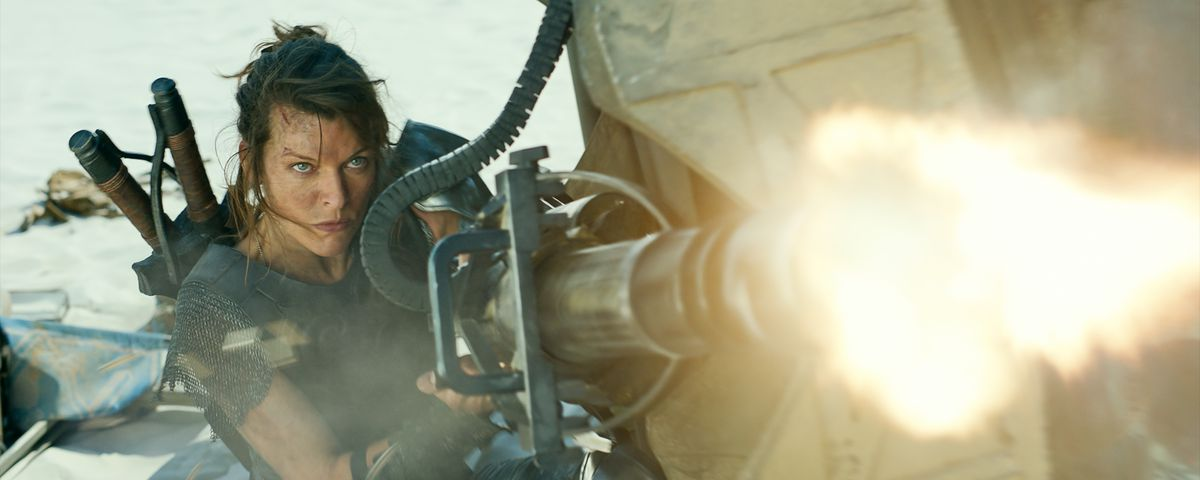 Milla Jovovich fires a giant honkin' gun in Monster Hunter