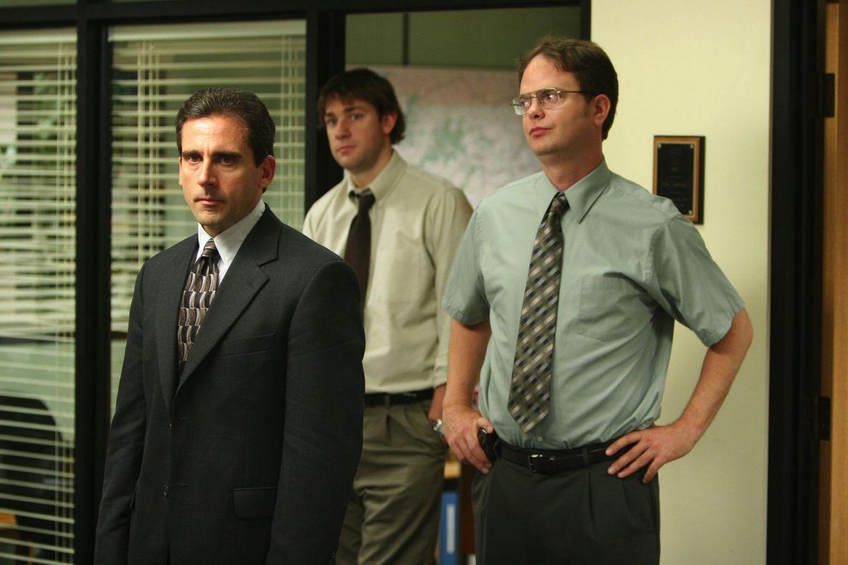 """Steve Carrell (from left), John Krasinksi and Rainn Wilson star on """"The Office."""""""