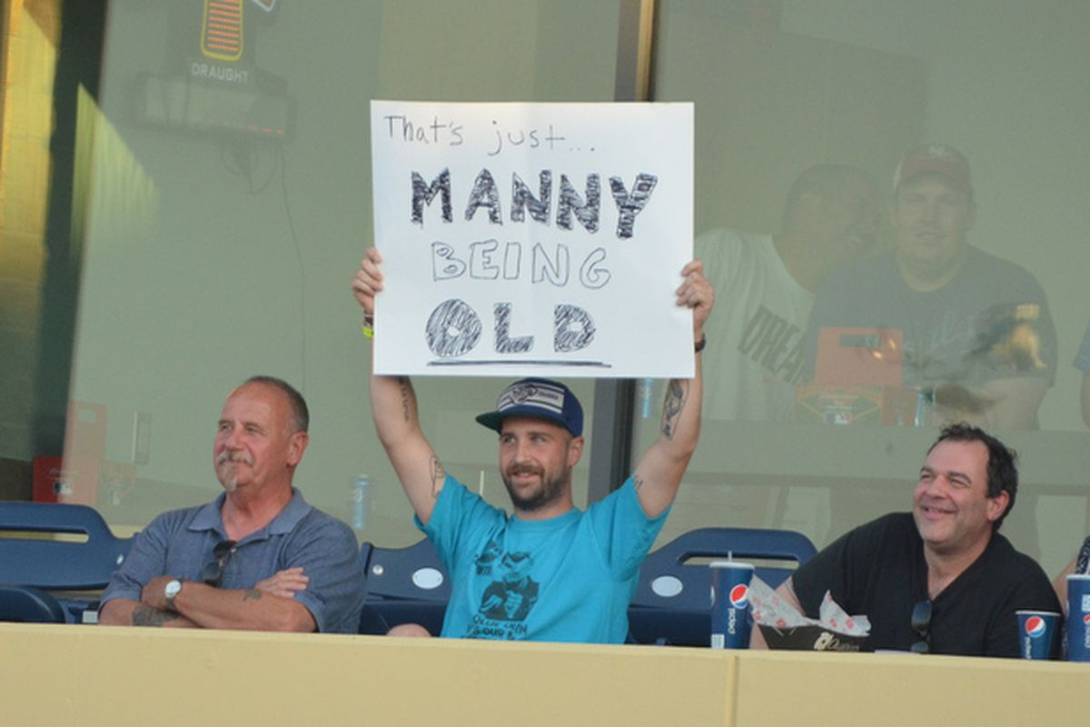 Fans in Omaha having fun at Manny's expense