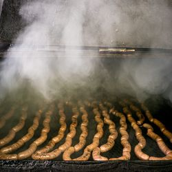 The sausages are smoked for four hours.