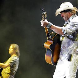 Country music star Toby Keith performs in concert at USANA Amphitheatre in West Valley City Saturday. The singer is currently on America's Toughest Tour along with openers Trace Adkins and Trailer Choir.