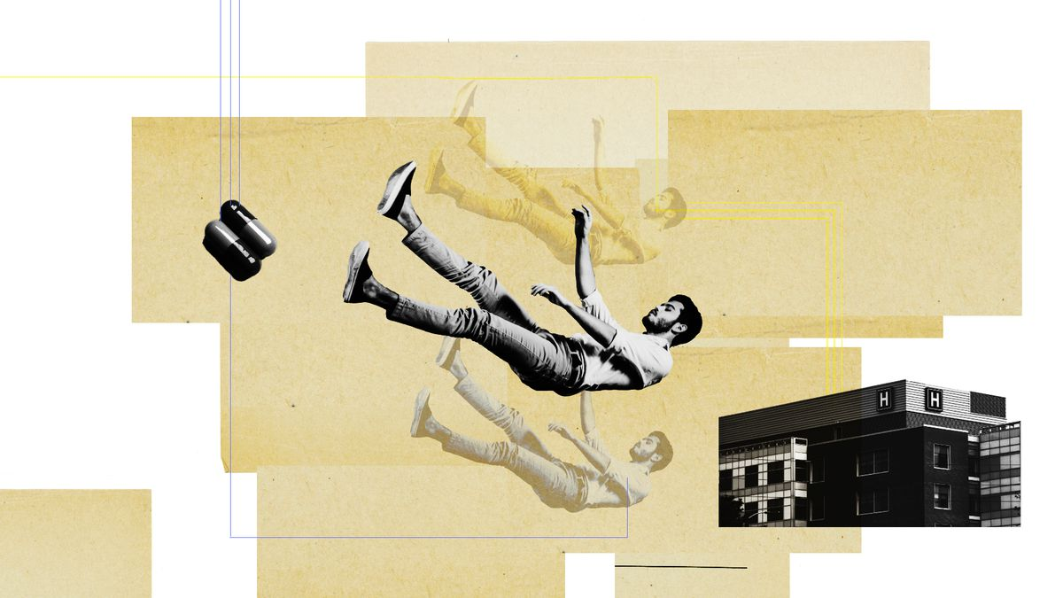 An illustration of pills, a person falling, and a hospital.
