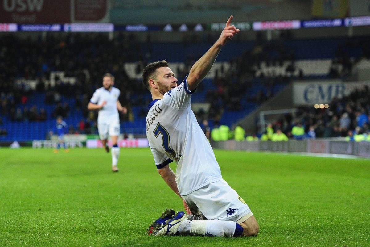 Mirco Antenucci celebrates Leeds United's second goal of the night.