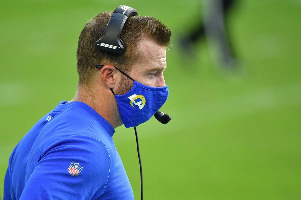 Head coach Sean McVay of the Los Angeles Rams stands on the sidelines during their NFL game against the Miami Dolphins at Hard Rock Stadium on November 01, 2020 in Miami Gardens, Florida.
