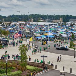 SOUTH BEND, IN - SEPTEMBER 01: A general view of the Notre Dame stadium parking lot is seen where the Notre Dame Fighting Irish and Michigan Wolverines fans tailgate prior to game action during the college football game between the Michigan Wolverines and the Notre Dame Fighting Irish on September 1, 2018 at Notre Dame Stadium, in South Bend, Indiana. The Notre Dame Fighting Irish defeated the Michigan Wolverines by the score of 24-17.