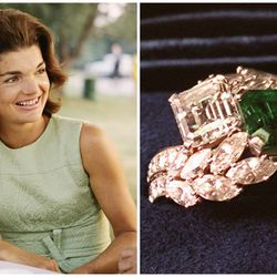 When John F. Kennedy first gave this Van Cleef & Arpels ring to fiancée Jacqueline Lee Bouvier in 1953, it included a 2.88 carat diamond and 2.84 carat emerald. Later, the piece was reset to include 2.12 carats of marquise- and round-cut diamonds.