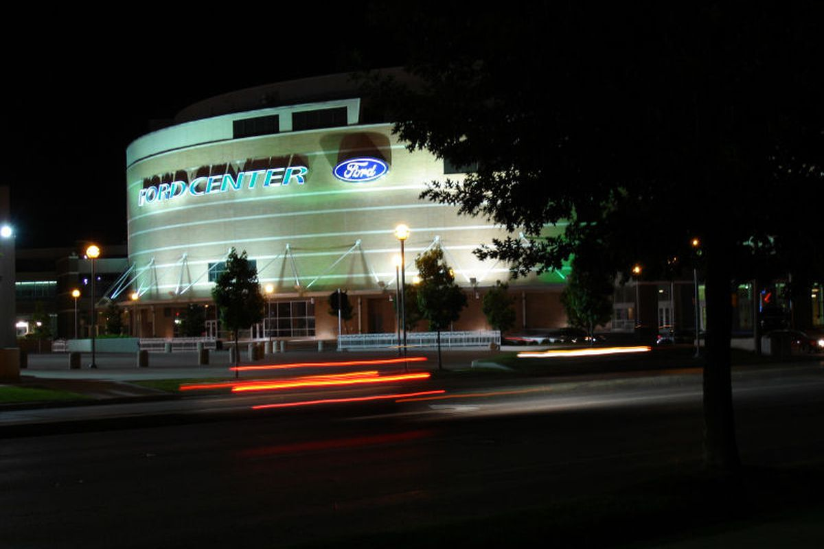 """The Ford Center & Cox Convention Center are nestled closely into downtown Oklahoma City. Can the two work together? <a href=""""http://commons.wikimedia.org/wiki/File:Ford_Center.jpg"""" target=""""new"""">Photo courtesy of Sooner Fever</a>"""