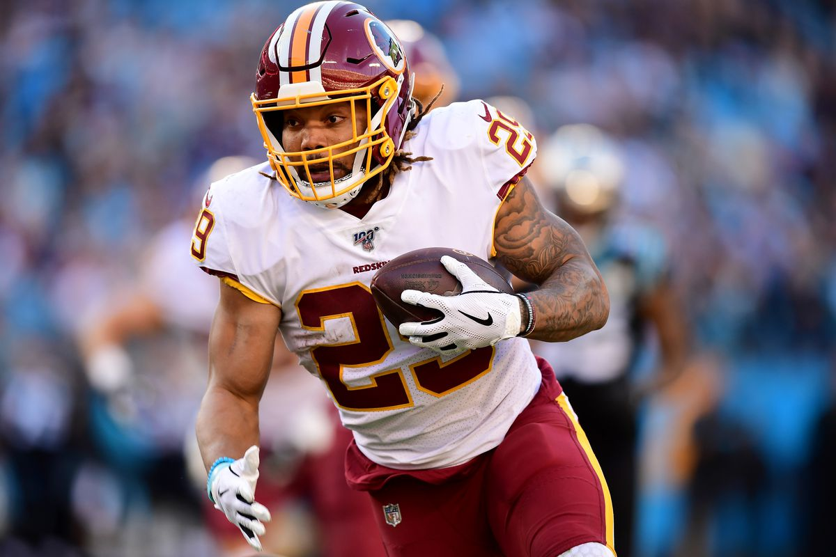 Derrius Guice #29 of the Washington Football Team during the second half during their game against the Carolina Panthers at Bank of America Stadium on December 01, 2019 in Charlotte, North Carolina.